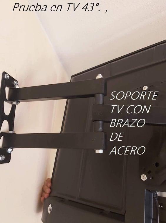 Soporte tv con brazo de ácero soporta max 50 kgs.